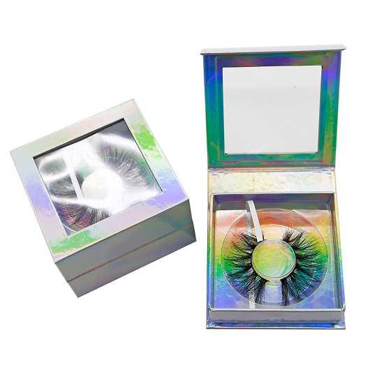 Holographic square eyelash boxes