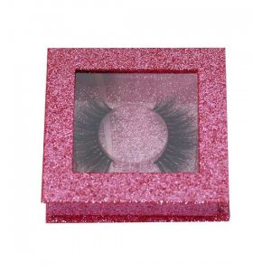 pink glitter square lash packagings